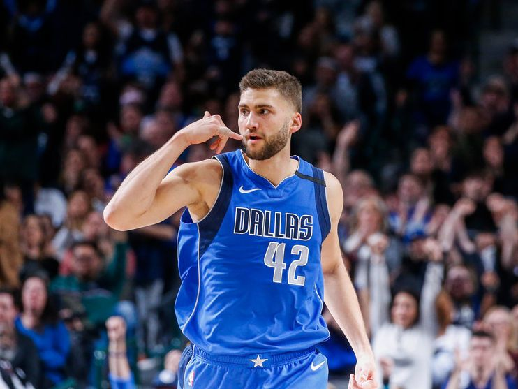 Dallas Mavericks forward Maxi Kleber (42) celebrates scoring during overtime in a NBA basketball game between the Dallas Mavericks and the Charlotte Hornets on Saturday, Jan. 4, 2019 at American Airlines Center in Dallas.