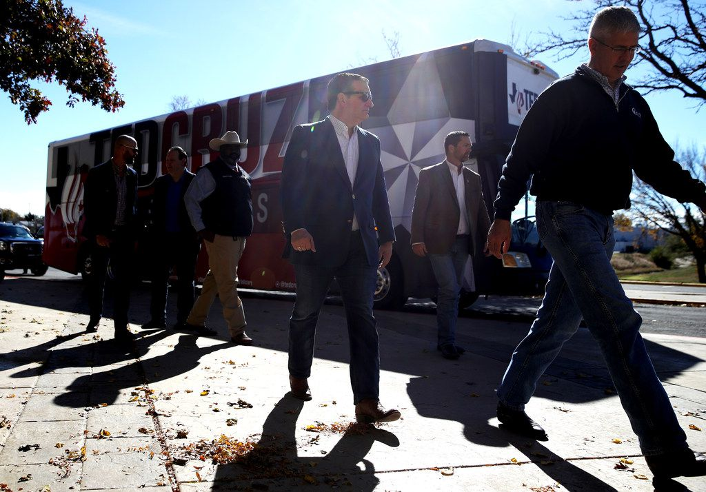 Sen. Ted Cruz walked off of his campaign bus as he arrives at a Get Out The Vote Bus Tour rally at the MK Brown Civic Center on November 1, 2018 in Pampa, Texas.
