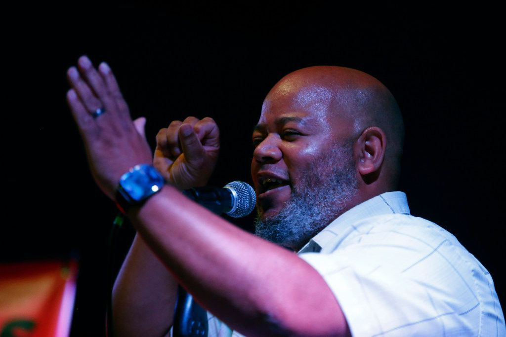"""Roderick Goudy, known by his stage name Rock Baby, performs at the Dallas Poetry Slam's """"All-Star"""" open mike. A longtime Slammaster (the de-facto slam coach and organizer) of the Dallas Poetry Slam, Rock Baby is a popular, nationally established slam poet."""