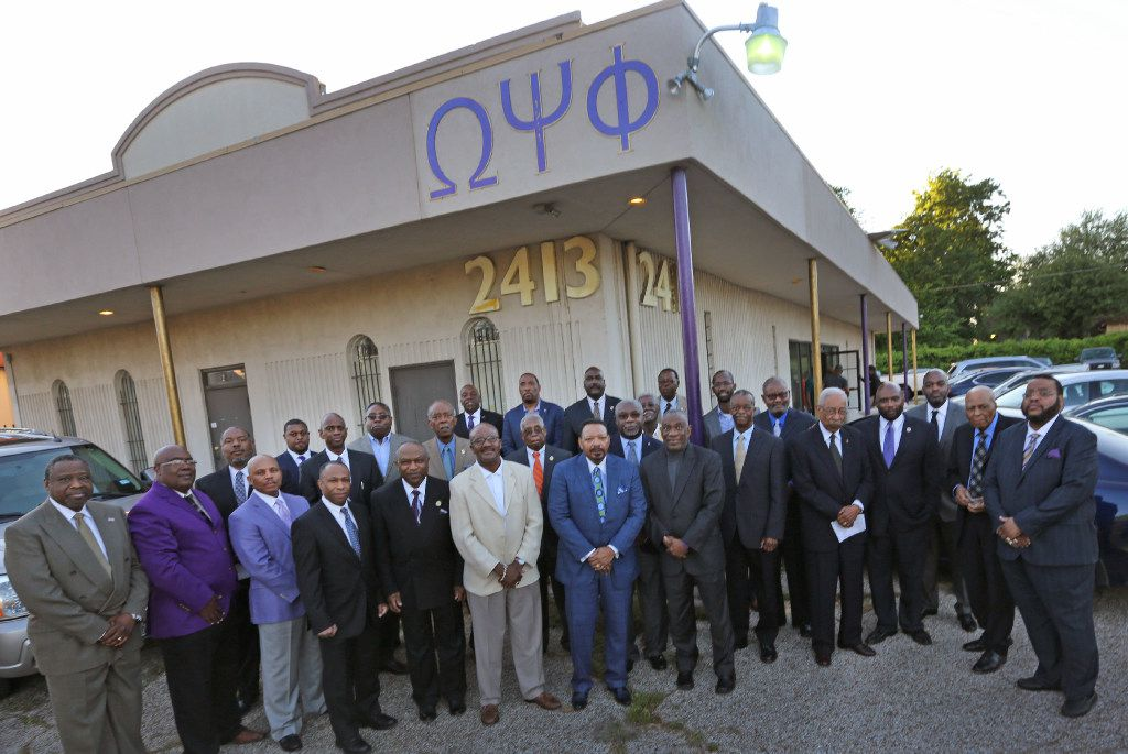 Fraternity brothers of Omega Psi Phi gather for a group photo at chapter headquarters in Dallas.