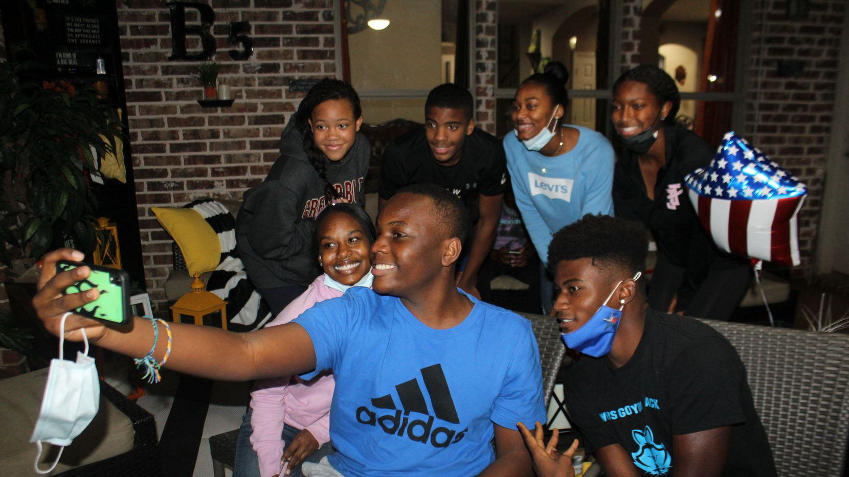 Teens attended an Election Night watch party in Tiffany Bozeman's Frisco backyard on Tuesday, Nov. 3, 2020.