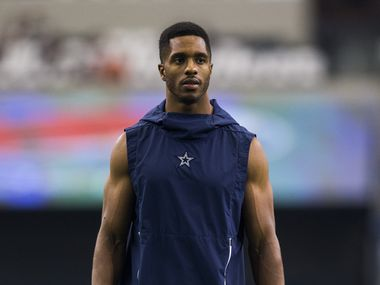 FILE - Cowboys cornerback Byron Jones (31) warms up before a game against the New York Giants on Sunday, Sept. 8, 2019, at AT&T Stadium in Arlington.