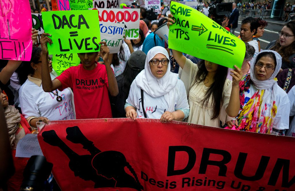 Activists supporting Deferred Action for Childhood Arrivals (DACA) and other immigration issues gathered near Trump Tower in New York this week as they protested President Donald Trump.