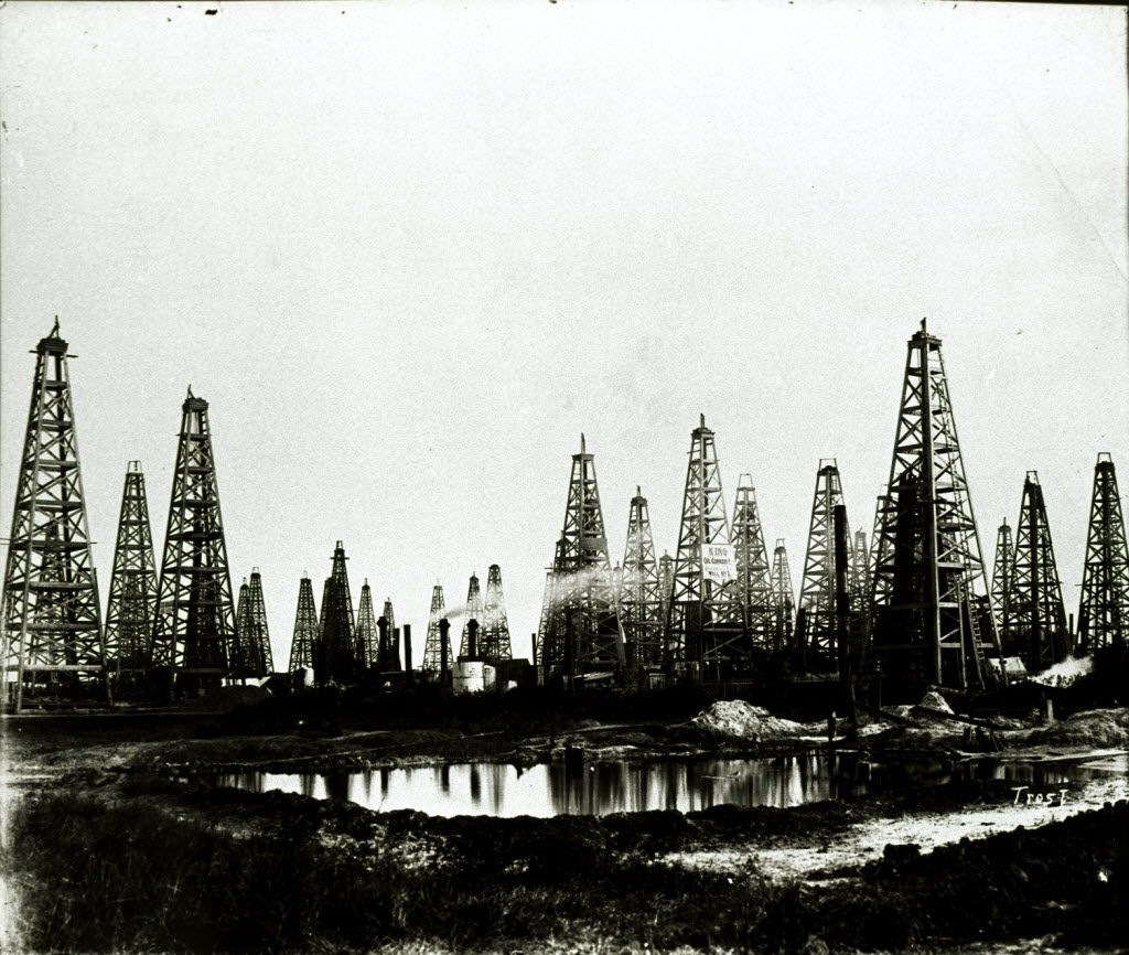 This undated photo provided by the Texas Energy Museum shows the Spindletop oil field near Beaumont. (AP Photo/Texas Energy Museum via Houston Chronicle)