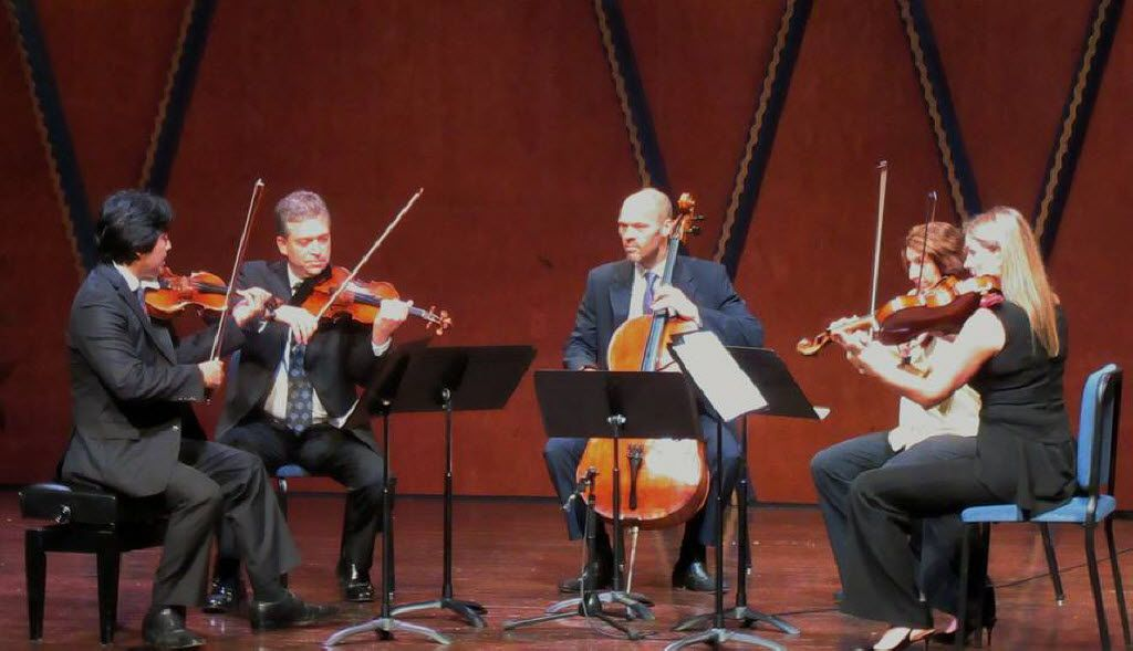 Jun Iwasaki (left), Curt Thompson, Brant Taylor, Joan DerHovsepian and Carol Cook performed at the Mimir Chamber Music Festival on July 5, 2016 at PepsiCo Recital Hall, Texas Christian University, Fort Worth