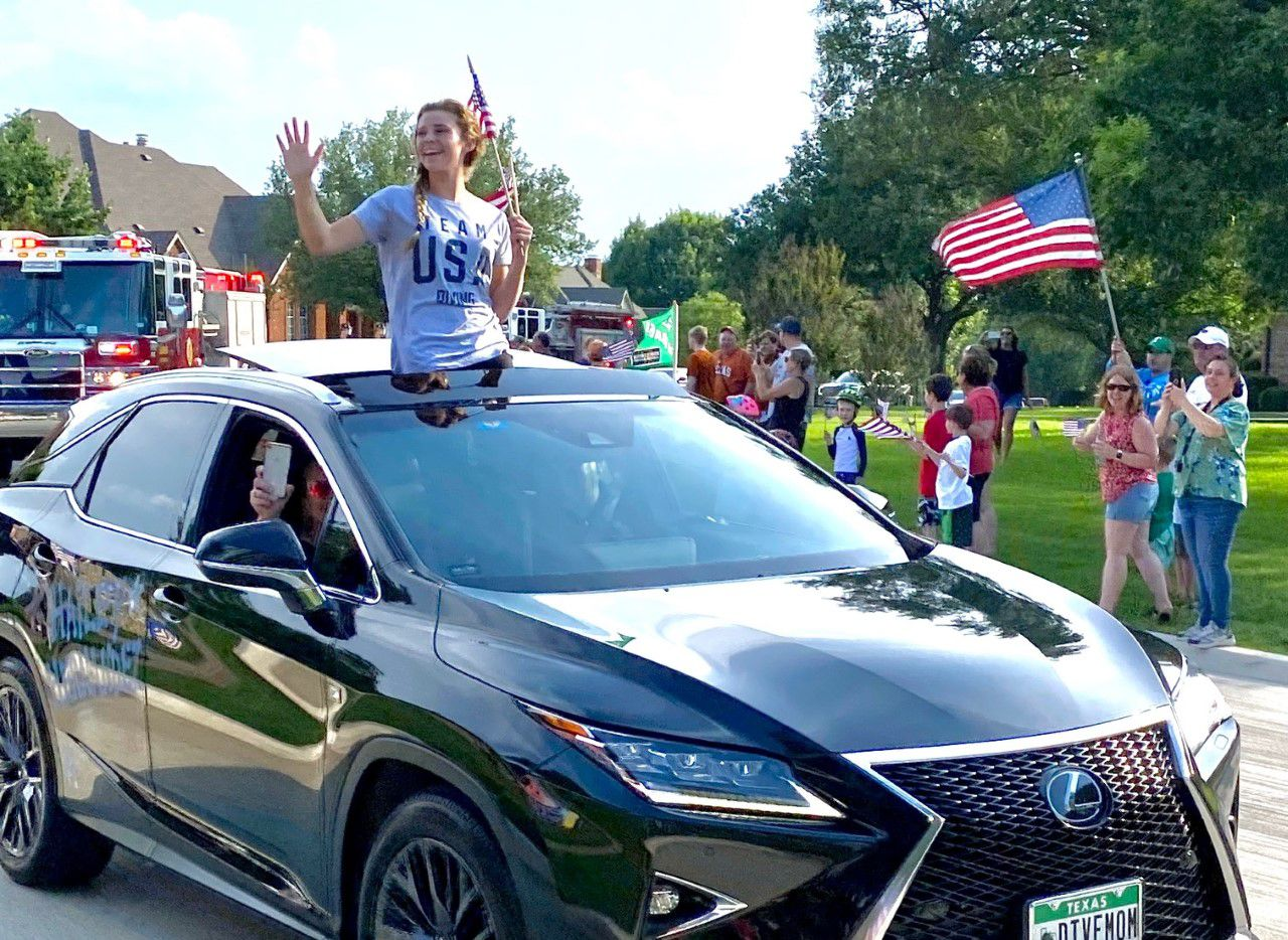 On Monday night, Hailey Hernandez was greeted by friends and family as she returned from the U.S. Olympic Team Trials, where she secured a spot on the Olympic diving team.