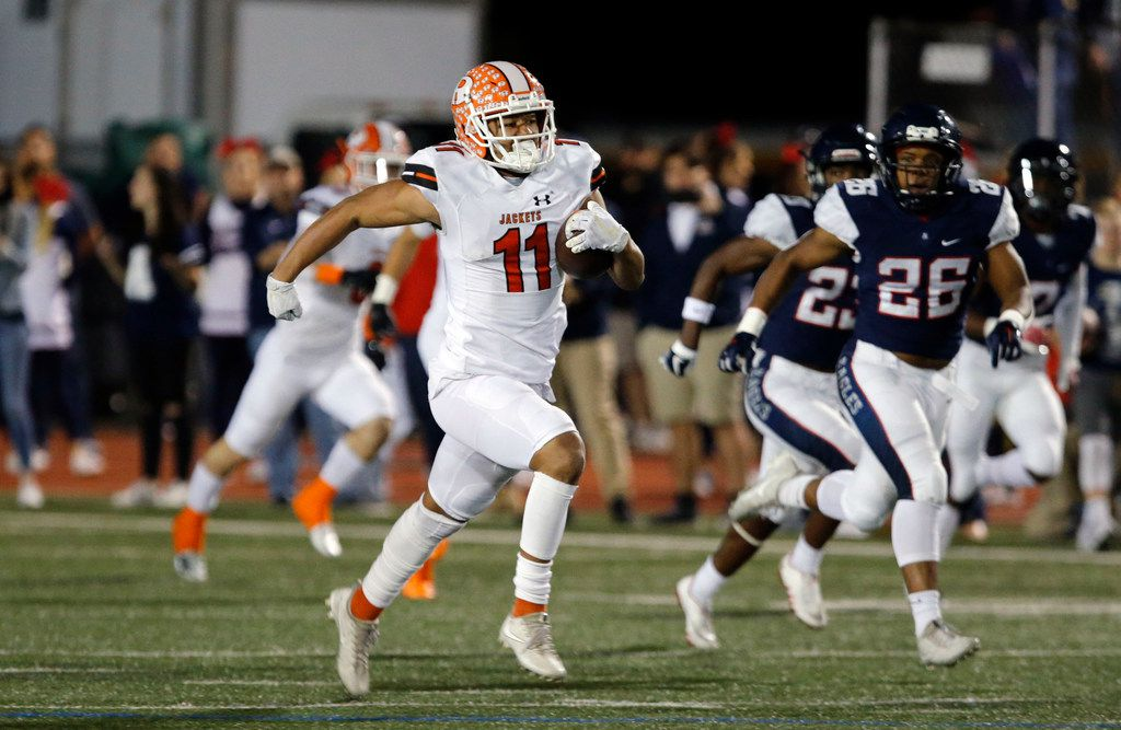 Rockwall wide receiver Jaxon Smith-Njigba (11) is one of the top area players returning next season. Rockwall starts spring workouts April 23. (John F. Rhodes / Special Contributor)