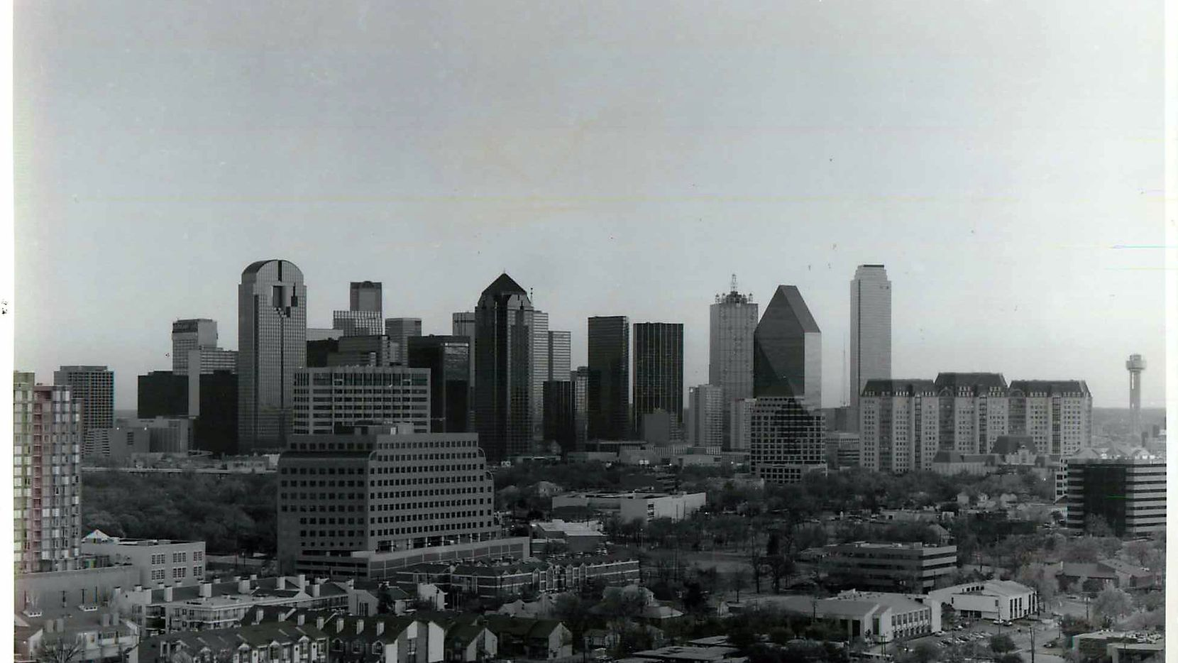 Shot November 30, 1987 - Dallas skyline [ state thomas / uptown neighborhood visible in foreground ]
