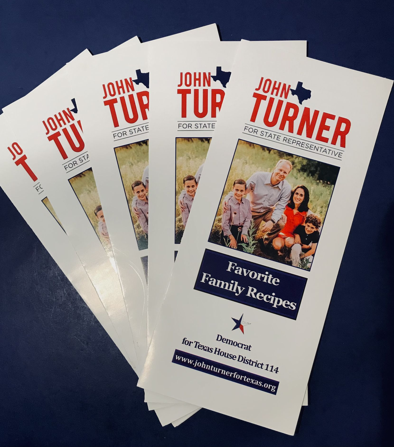 In the 1980's, Jim Turner handed out recipe books during his campaign for state office. When his son John Turner ran for office in Dallas in 2018, he revived the political tradition.
