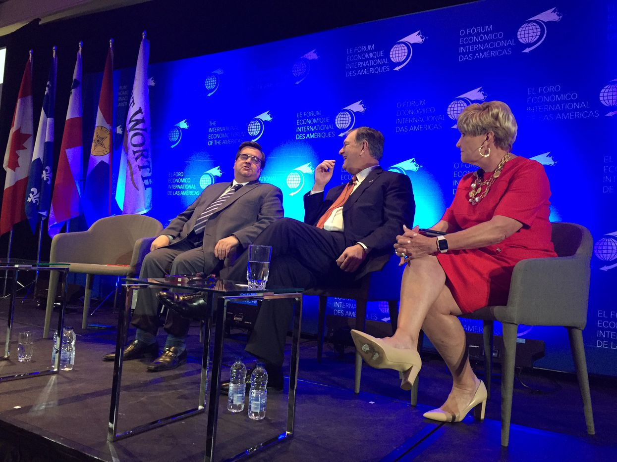 Montreal Mayor Denis Coderre (left), Dallas Mayor Mike Rawlings and Fort Worth Mayor Betsy Price were on a panel about mobility and smart cities at the International Economic Forum of the Americas this week.