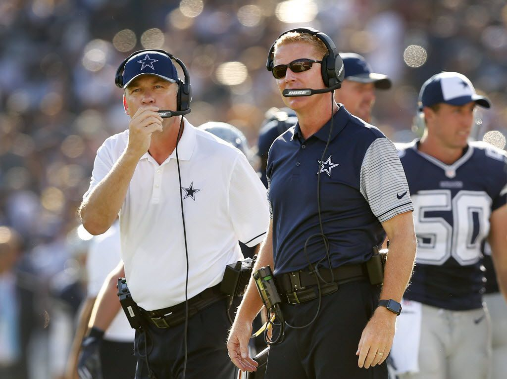 FILE - Cowboys head coach Jason Garrett (right) and offensive coordinator Scott Linehan are pictured on the sideline during a preseason game against the Rams at Los Angeles Memorial Coliseum on Saturday, Aug. 13, 2016. (Tom Fox/The Dallas Morning News)