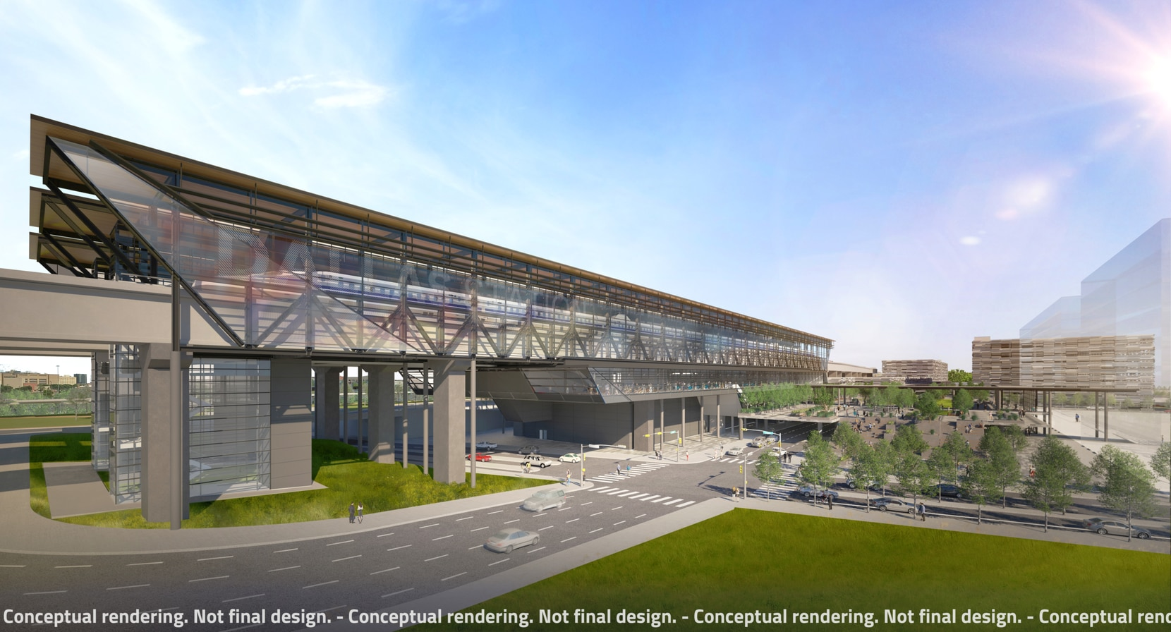 The Dallas station of the Texas high-speed rail system could look like this rendering.