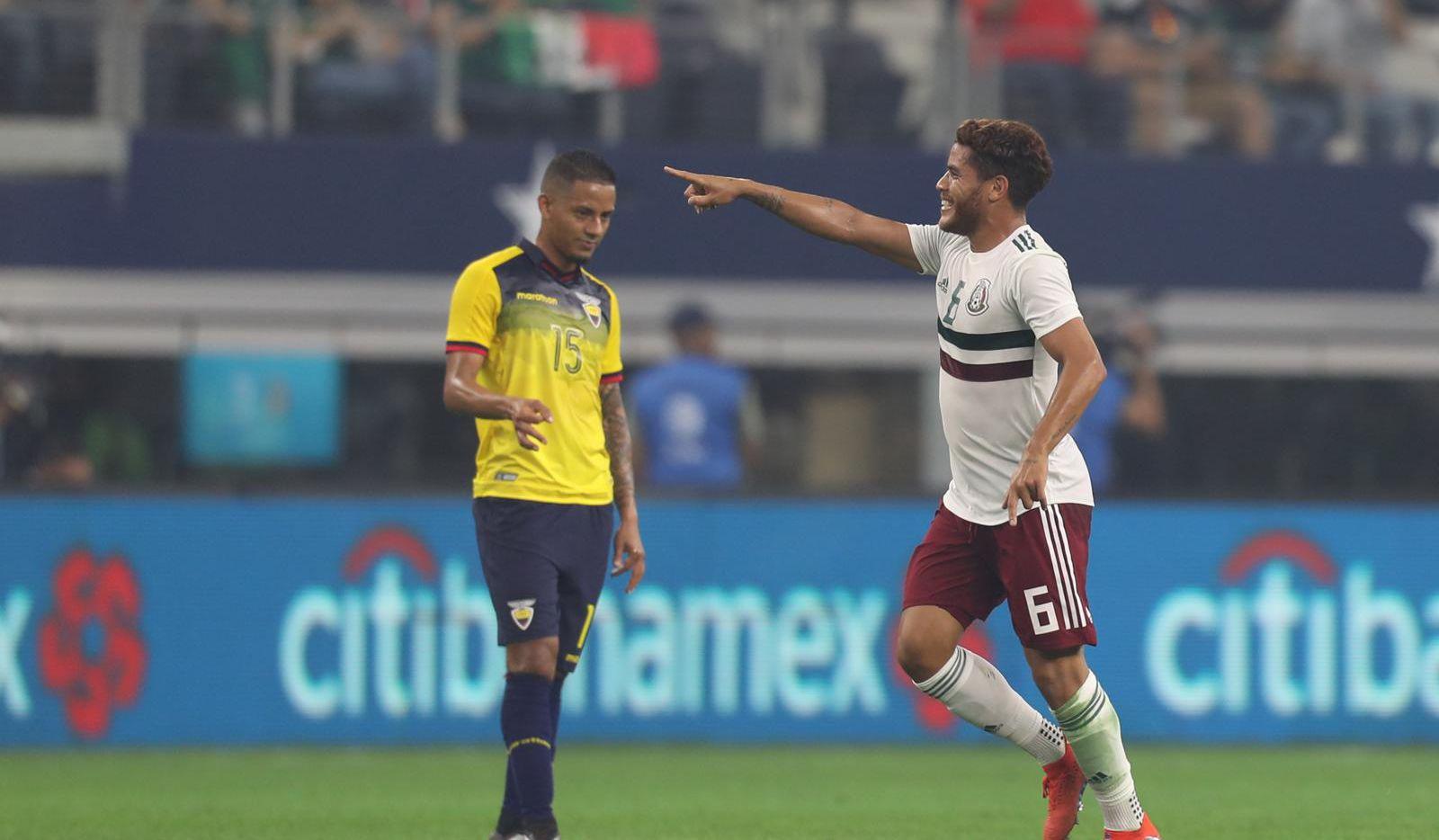 Jonathan Dos Santos festeja su gol para México en el triunfo 3-2 ante Ecuador. Foto de Omar Vega para Al Día