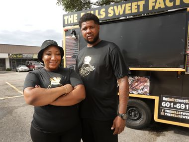 Ashley Johnson, left, and Thaddeus Bell photographed at the new Bells Sweet Factory in Plano