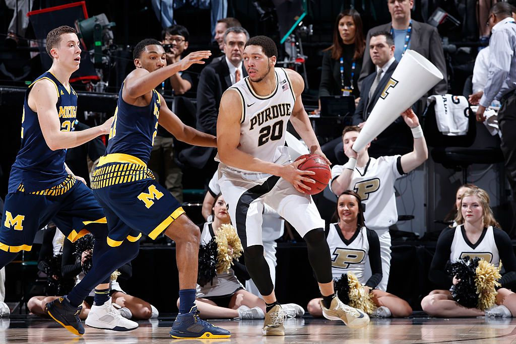 INDIANAPOLIS, IN - MARCH 12: A.J. Hammons #20 of the Purdue Boilermakers looks to the basket against the Michigan Wolverines in the semifinals of the Big Ten Basketball Tournament at Bankers Life Fieldhouse on March 12, 2016 in Indianapolis, Indiana. Purdue defeated Michigan 76-59. (Photo by Joe Robbins/Getty Images)