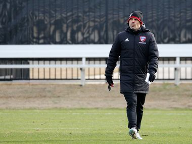 FC Dallas head coach Luchi Gonzalez during the first practice of preseason training at Toyota Soccer Center in Frisco on Tuesday, January 21, 2020.