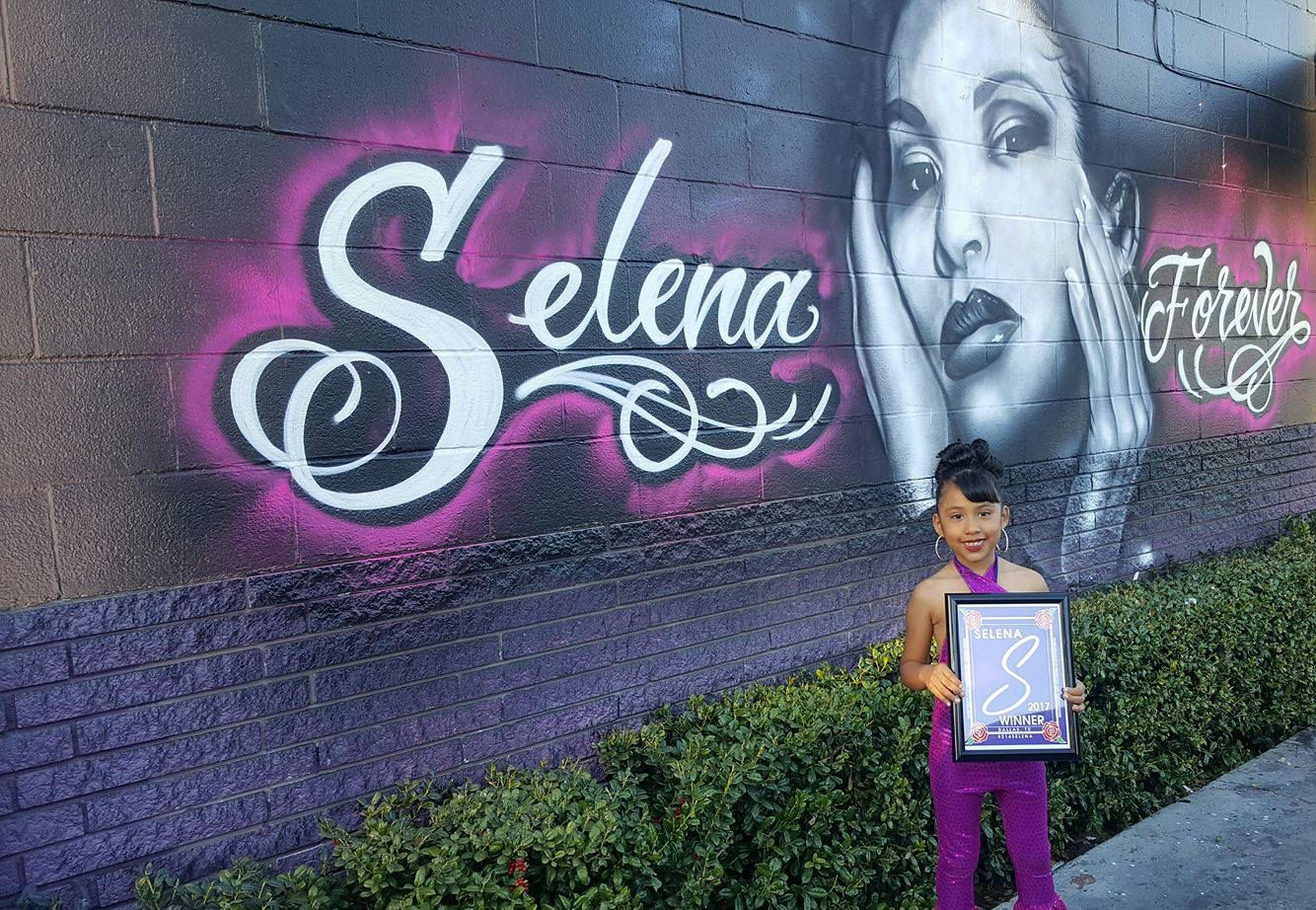 Azlie Jolie Garcia from Dallas won the Selena look-a-like contest at Country Burger in Oak Cliff . She is 6 years old.