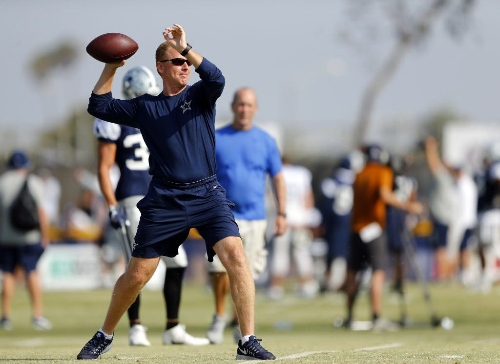With his team down a quarterback, Dallas Cowboys head coach and former quarterback Jason Garrett filled in on the practice squad, throwing to young receivers during afternoon practice at training camp in Oxnard, California, Thursday, August 4, 2016. (Tom Fox/The Dallas Morning News)