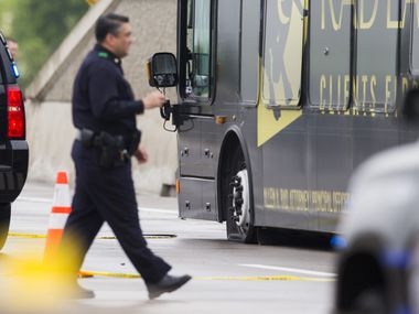 Rockwall police used a spike strip to disable the bus and end the chase on the President George Bush Turnpike at around noon.
