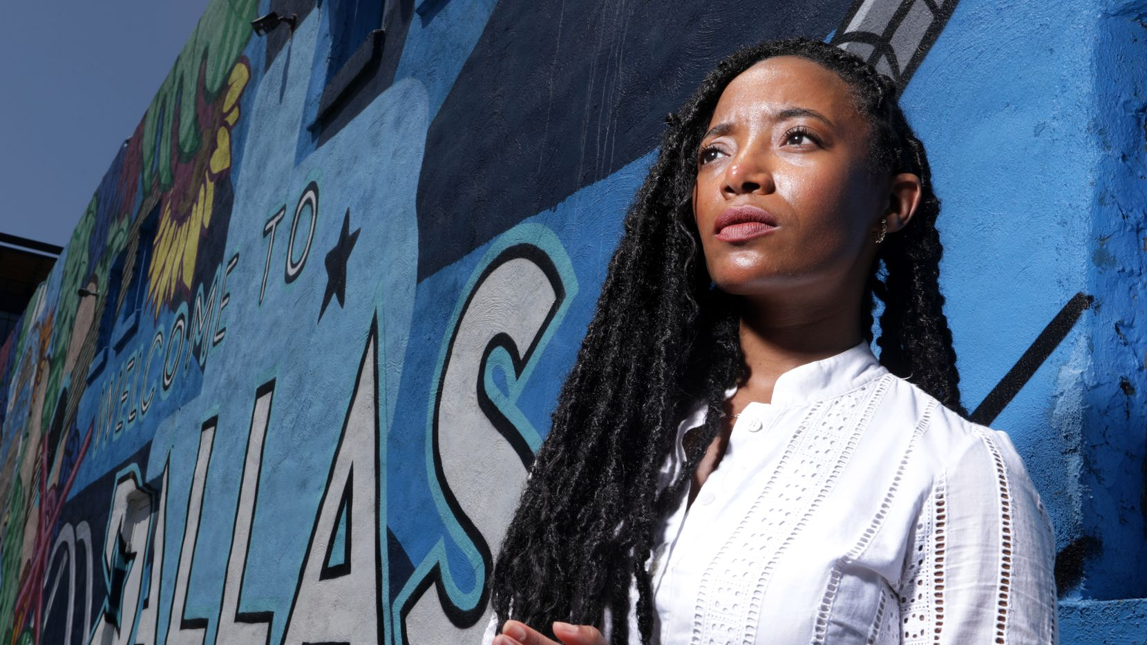 Amber Sims in Deep Ellum near her Young Leaders, Strong City co-working office space. The organization, which Sims co-founded, provides opportunities for high school students to talk about race and identity issues.