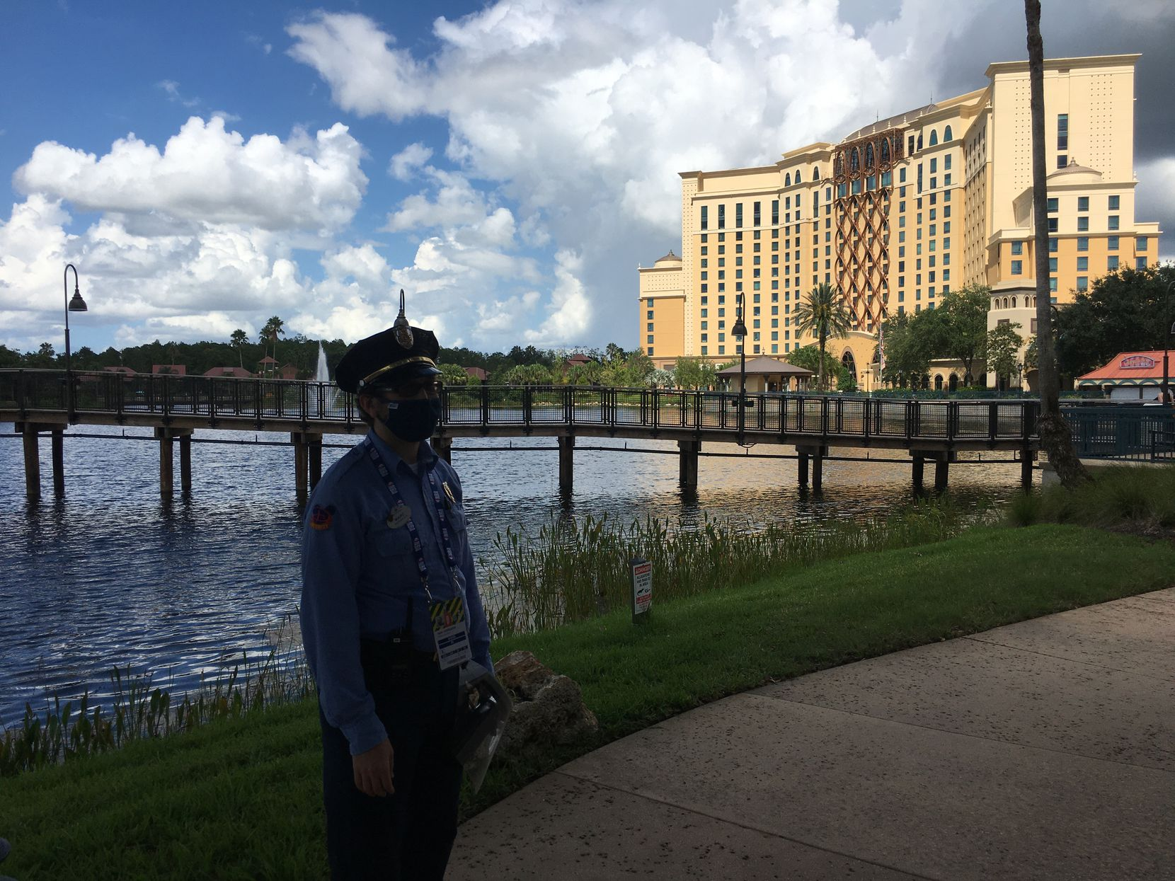 A view of the Coronado Springs Resort in the Disney World complex in Lake Buena Vista, Fla. Sunday was Brad Townsend's first day out and about after a week confined to his room and daily COVID-19 testing.