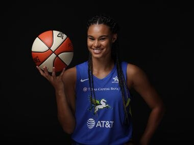 BRADENTON - JULY 16:  Satou Sabally #0 of the Dallas Wings poses for a portrait during Media Day on July 16, 2020 at IMG Academy in Bradenton, Florida. NOTE TO USER: User expressly acknowledges and agrees that, by downloading and/or using this Photograph, user is consenting to the terms and conditions of the Getty Images License Agreement. Mandatory Copyright Notice: Copyright 2020 NBAE (Photo by Ned Dishman/NBAE via Getty Images)