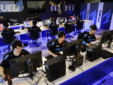 Dallas Fuel Overwatch League players practice ahead of their season opener against Houston at Envy Gaming Headquarters in Dallas, Monday, March 29, 2021. (Tom Fox/The Dallas Morning News)