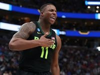FILE - Baylor forward Mark Vital reacts to a play against Gonzaga during their game in the second round of the NCAA Tournament at Vivint Smart Home Arena on March 23, 2019, in Salt Lake City, Utah.