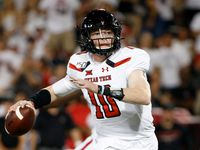 FILE - Texas Tech quarterback Alan Bowman (10) looks to pass the ball during a game against Arizona on Saturday, Sept. 14, 2019, in Tucson, Ariz. (AP Photo/Ralph Freso)