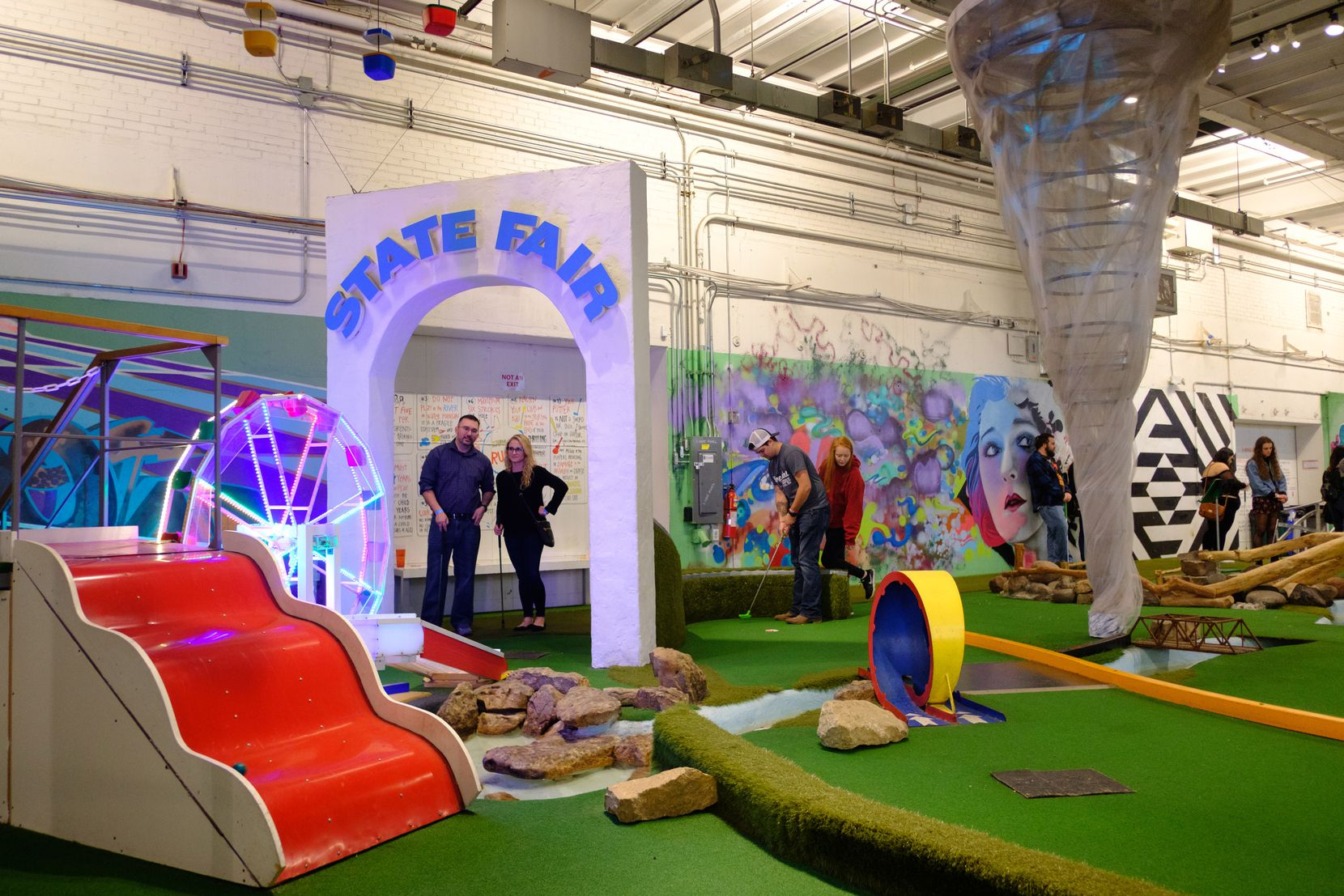 Can Can Wonderland, inside the Creative Enterprise Zone, is an amusement center with miniature golf and a vintage arcade.