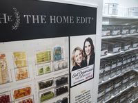 A display showcases the new collection of organizer bins designed by The Home Edit at The Container Store in Far North Dallas. The popular organizing duo behind The Home Edit, Joanna Teplin and Clea Shearer, also have a new show streaming on Netflix.
