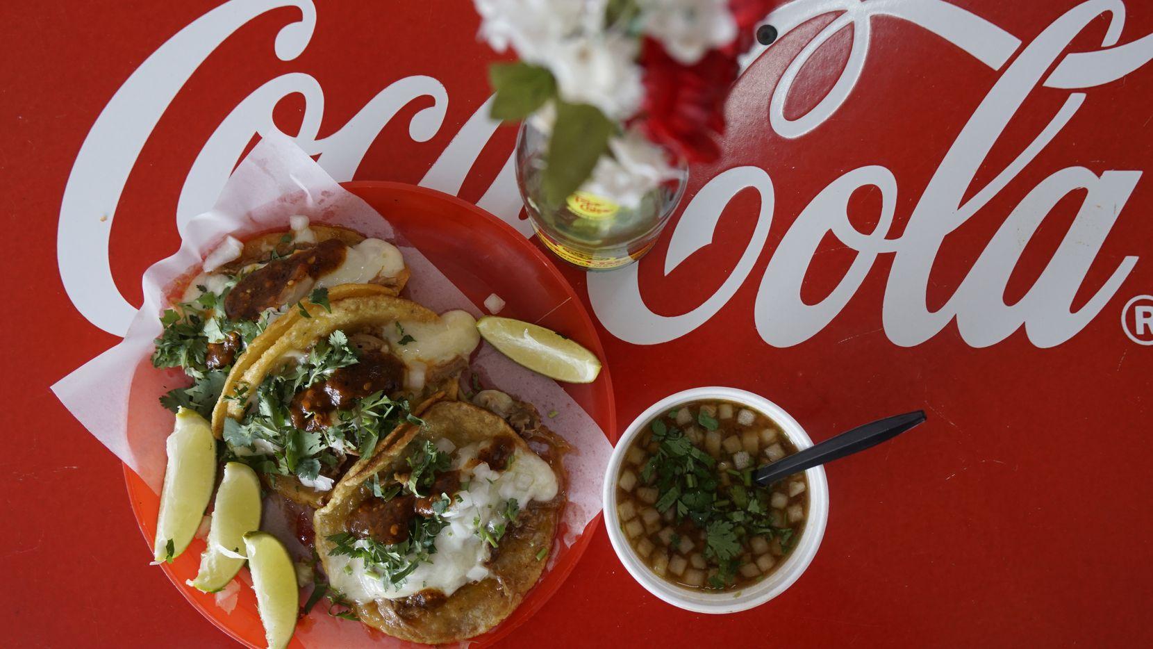 Quesobirria taco at Chilangos Tacos on Harry Hines in Dallas