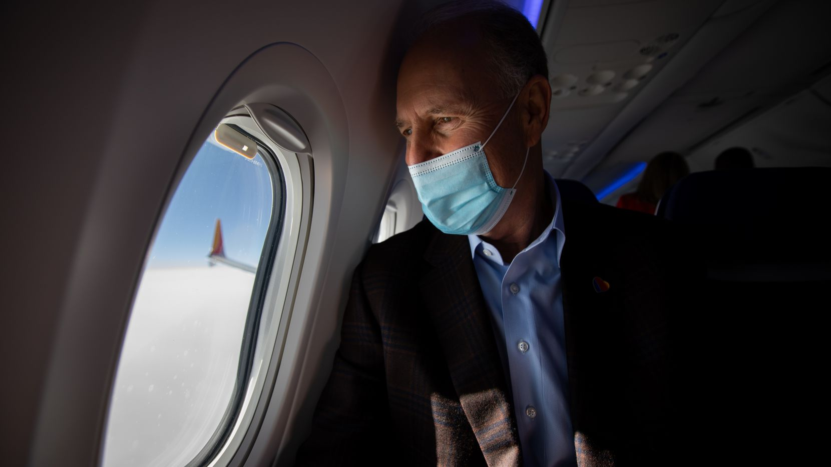 """Southwest Airlines CEO Gary Kelly, aboard a test flight of one of the company's 737 Max aircraft in December 2020, says of the pandemic: """"We figured out what we needed to do to fight our way through it. And we feel like we're on the other side of this."""""""