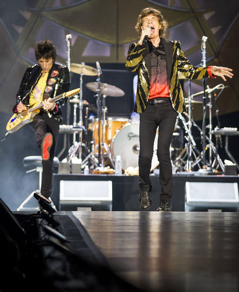 Mick Jagger (right) and Ronnie Wood of the Rolling Stones on stage at AT&T Stadium in Arlington, June 6, 2015.