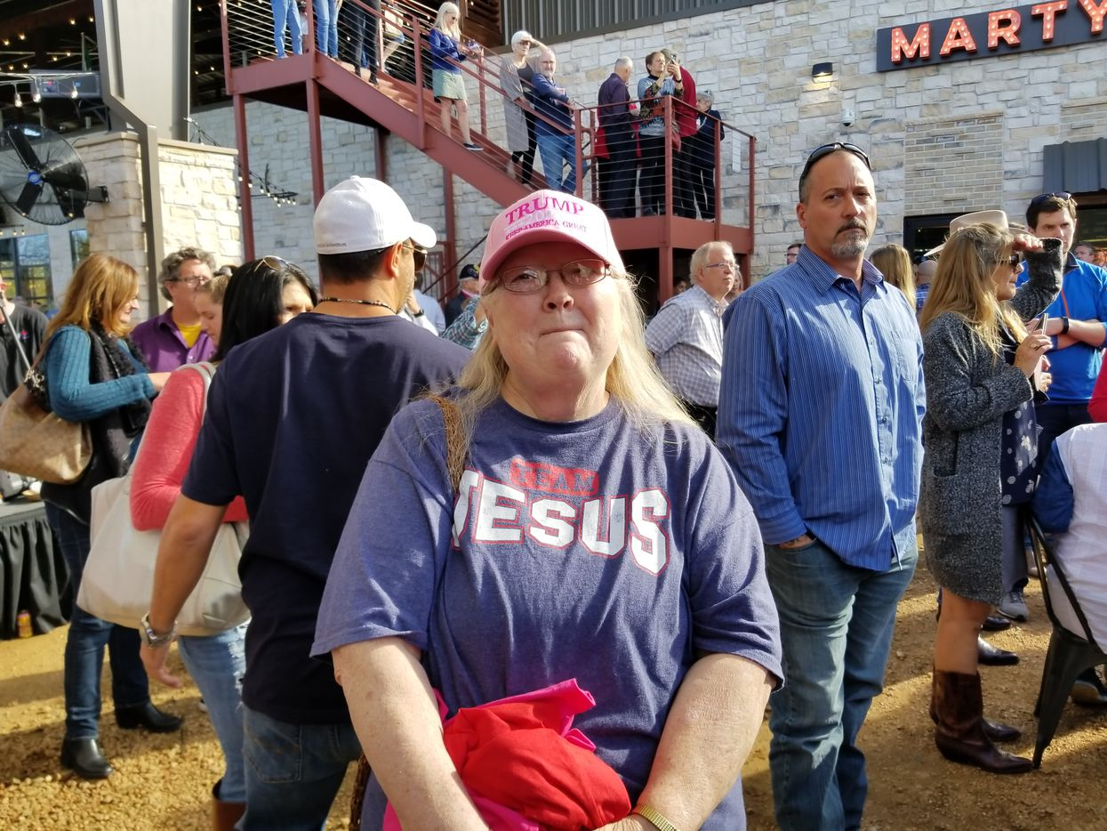 "Debra Reed of Denton at a Ted Cruz rally in Bartonville on Nov. 4, 2018. ""It might be close,"" she said."