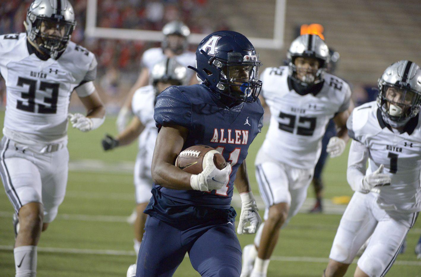 Allen's Jordan Johnston (11) runs upfield in the third quarter of a high school football game between Denton Guyer and Allen, Friday, Nov. 13, 2020, in Allen, Texas. (Matt Strasen/Special Contributor)