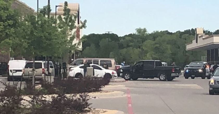 Law enforcement agencies gather outside Buc-ee's in Denton after an officer-involved shooting was reported Friday morning. No officers were hurt.