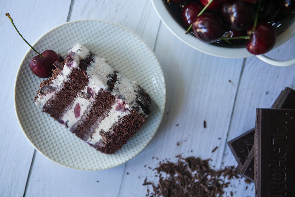 Black Forest Ice Cream Cake is made with a buttermilk chocolate cake base layered with black forest ice cream.