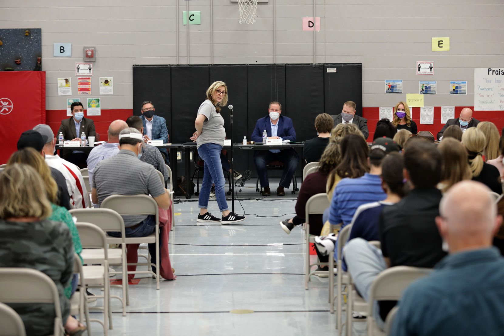 Anna Sides speaks during a Lovejoy ISD public meeting at Lovejoy Elementary in Allen, Texas, on April 19, 2021.