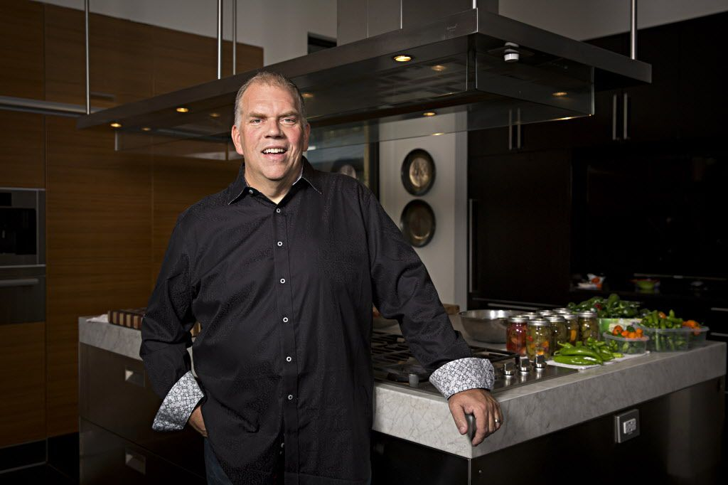 "Chef Kent Rathbun, owner of Abacus, Jasper's and Hickory restaurants, spends a lot of time in his home kitchen. ""My favorite way to spend my time off is cooking with a few of my friends,"" he says."