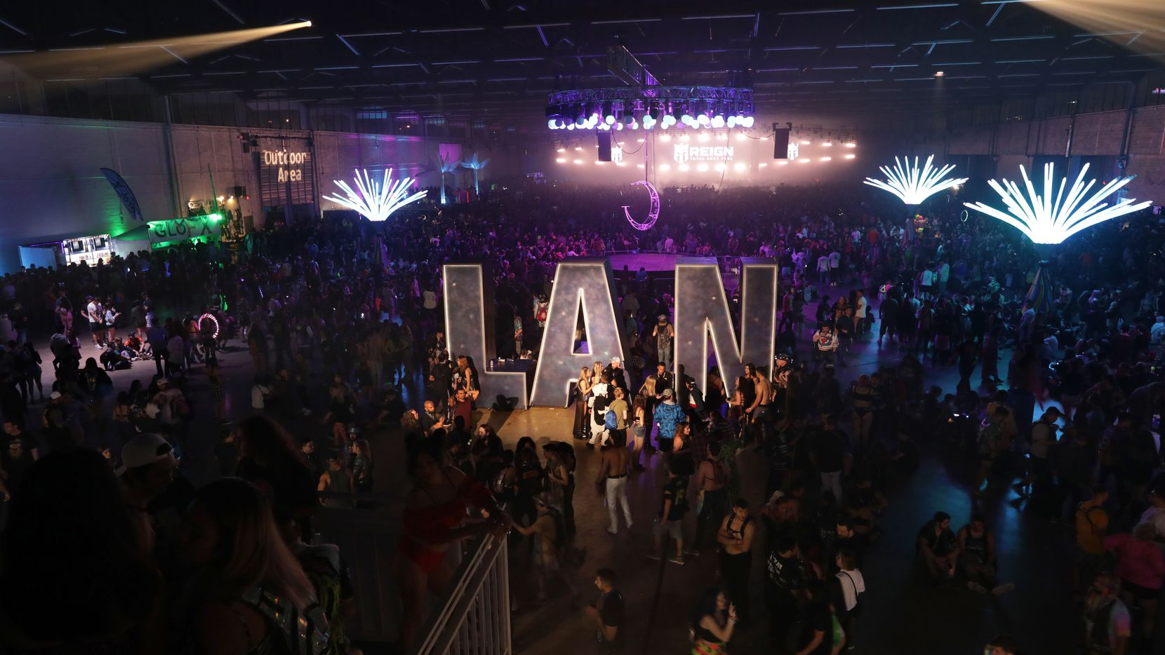 Guests attend Lights All Night at Dallas Market Hall in 2019.