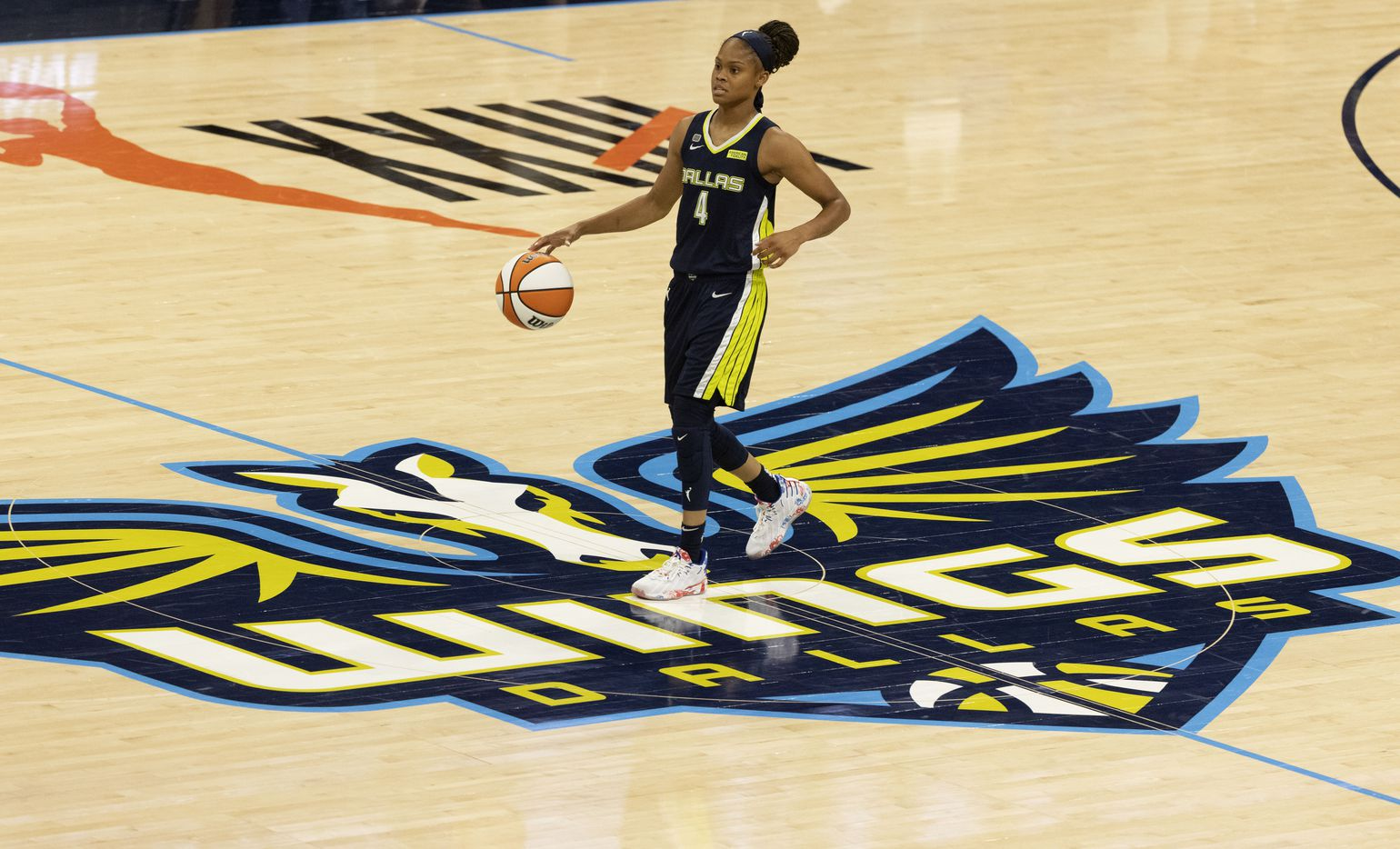 Dallas Wings guard Moriah Jefferson (4) moves the ball up the court against the Atlanta Dream during the second half of their WNBA basketball game in Arlington, Texas on Sept. 2, 2021. Dallas won 72-68. (Michael Ainsworth/Special Contributor)