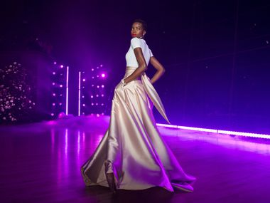 A model presents a creation by Brandon Maxwell during a pre-pandemic New York Fashion Week runway show.