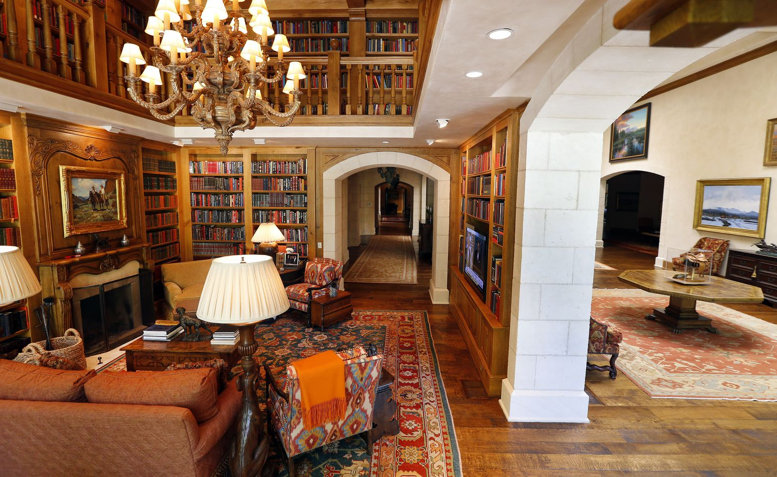 The Library (left) and art gallery are part of The Lodge, the residence of businessman T. Boone Pickens on his Mesa Vista Ranch.
