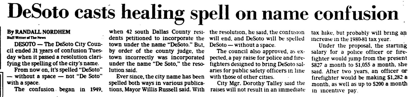 Clip from Feb. 20, 1980 from The Dallas Morning News.