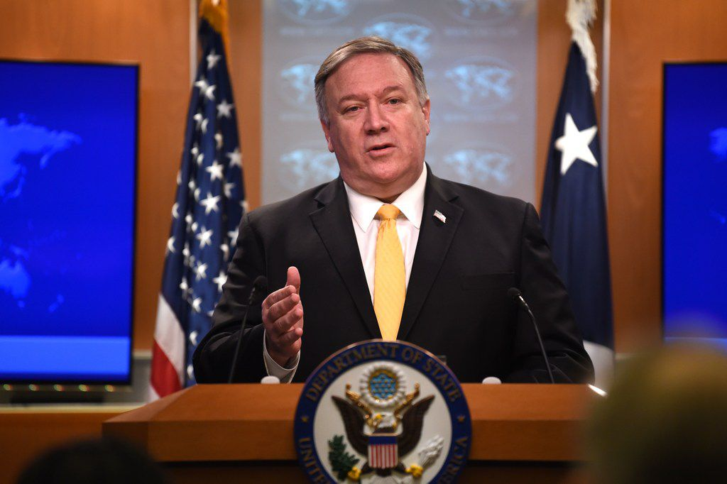 Secretary of State Mike Pompeo speaks at a news conference in the State Department in Washington, D.C., on Feb. 1, 2019. Pompeo announced that the U.S. will withdraw from the Intermediate-Range Nuclear Forces Treaty with Russia.