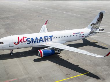An Airbus A320 series jet from Chilean ultra-low-cost carrier JetSmart. JetSmart shares an owner, Indigo Partners, with Denver-based Frontier Airlines.