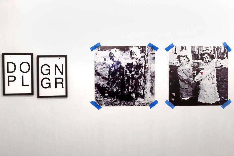 Kathy Lovas' 'DOPL / GNGR,' 2020. UV cured ink on vinyl, tape, handmade DASS inkjet transfer prints on Legion optimized Yupo paper, wood frames.