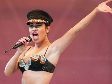Selena Quintanilla performs at the Houston Livestock Show and Rodeo inside the Astrodome in Houston on Feb. 28, 1993.