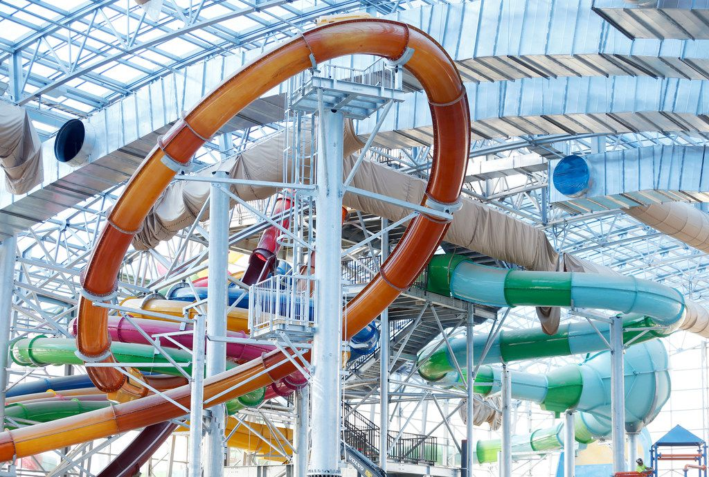 View of some of the nine waterslides during a tour of Epic Waters Indoor Waterpark in Grand Prairie on Tuesday, October 3, 2017. The park is still under construction and scheduled to open later this year. (Vernon Bryant/The Dallas Morning News)